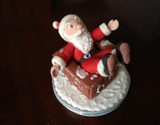 Cake top decorations southwick brighton flair for cakes Santa stuck in chimney cake